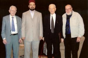 From left to right: Bob Webb, Imam Hamid Slimi, Bill Porter and Henry Heald