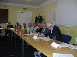 Magnus Linklater, right, and Bernard Margueritte, second from right, address round-table discussion on 'The media and public confidence' in the Royal Scots Club, Edinburgh. (Photo: Geoff Craig)