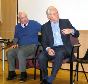 Magnus Linklater and Martyn Lewis respond to a point raised in a public discussion on media ethics at Lincoln University (Photo: Robin Williamson)